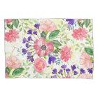Watercolor garden flowers pillowcase