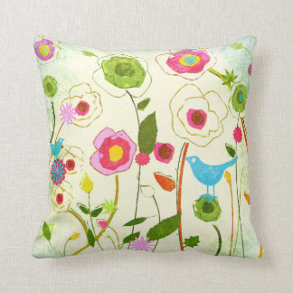 Watercolor Garden Flowers Throw Pillow