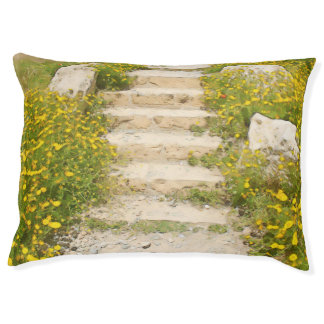 Watercolor garden large dog bed