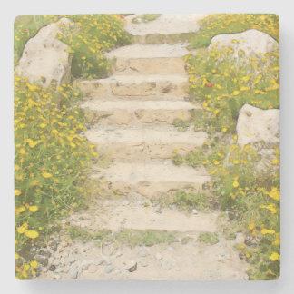 Watercolor garden stone coaster