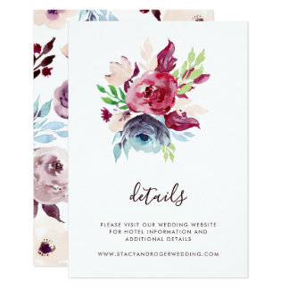 Watercolor Garden Wedding Details Card