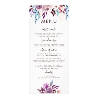 Watercolor Garden Wedding Menu