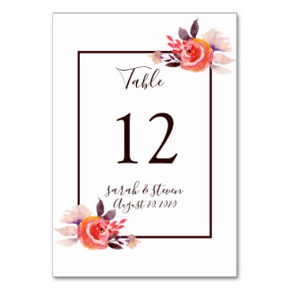 Watercolor Garden Wedding Table Number