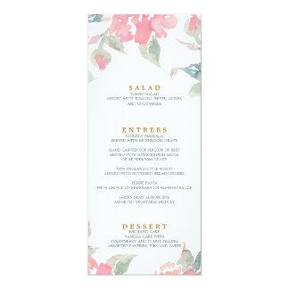 WATERCOLOR GARDEN WEDDING wedding dinner menu Card