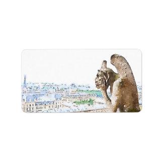 Watercolor Gargoyle of Notre Dame