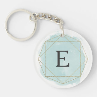 Watercolor geo faux glitter monogram key chain