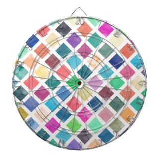 Watercolor geometric pattern dartboard