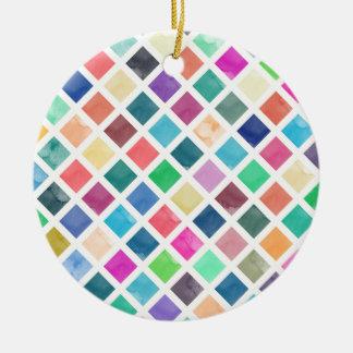 Watercolor geometric pattern round ceramic ornament