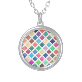Watercolor geometric pattern silver plated necklace