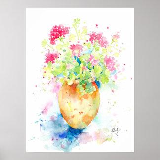 Watercolor geranium in terracotta pot poster