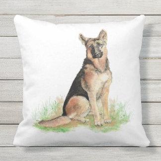 Watercolor German Shepherd Dog Pet Animal  Art Throw Pillow