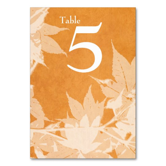 Watercolor Ghost Leaves Autumn Table Number Card