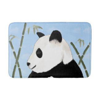 Watercolor Giant Panda and Bamboo Bath Mat