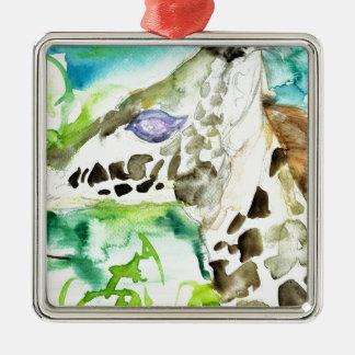 watercolor GIRAFFE .1 Metal Ornament