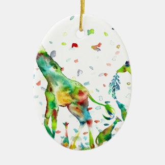 watercolor GIRAFFE .2 Ceramic Ornament
