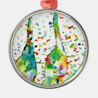 watercolor GIRAFFE .3 Metal Ornament