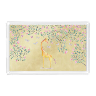 Watercolor Giraffe Butterflies and Blossom Acrylic Tray