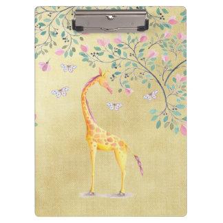 Watercolor Giraffe Butterflies and Blossom Clipboards