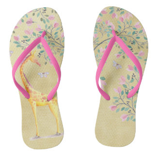 Watercolor Giraffe Butterflies and Blossom Flip Flops