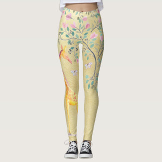 Watercolor Giraffe Butterflies and Blossom Leggings