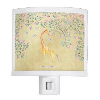 Watercolor Giraffe Butterflies and Blossom Night Lights