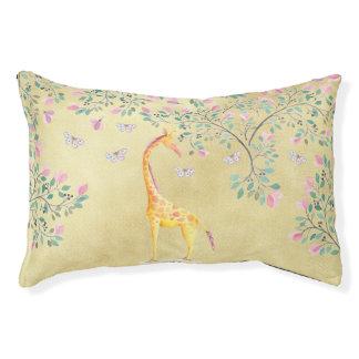 Watercolor Giraffe Butterflies and Blossom Pet Bed
