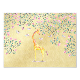 Watercolor Giraffe Butterflies and Blossom Photo