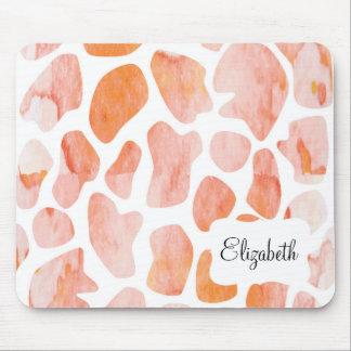 Watercolor Giraffe Pattern orange peach coral Mouse Pad