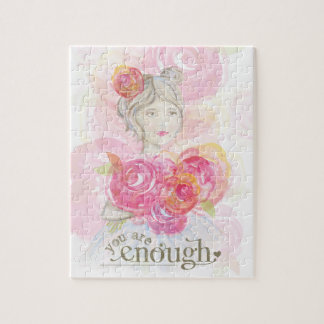 Watercolor girl with flowers _ You Are Enough Puzzles