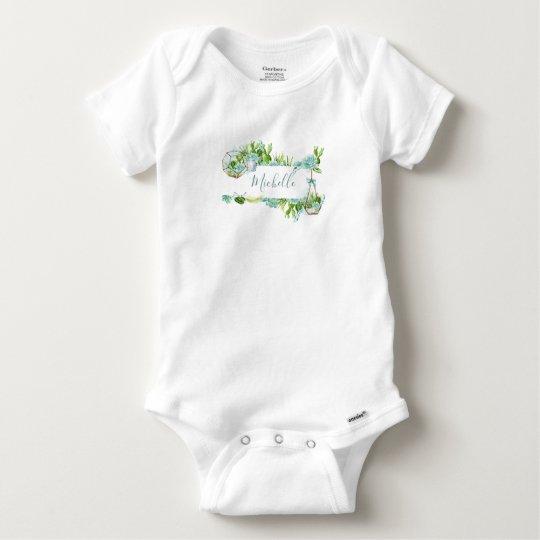 Watercolor Glass Terrarium Succulents Baby Shower Baby Onesie