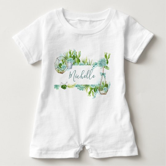 Watercolor Glass Terrarium Succulents Baby Shower Baby Romper