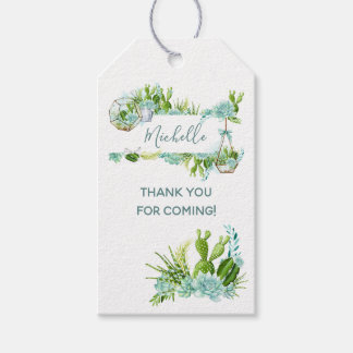 Watercolor Glass Terrarium Succulents Baby Shower Gift Tags