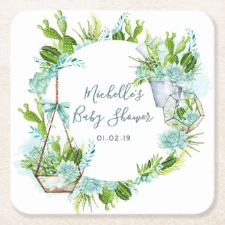 Watercolor Glass Terrarium Succulents Baby Shower Square Paper Coaster