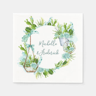 Watercolor Glass Terrarium Succulents Wedding Paper Napkin