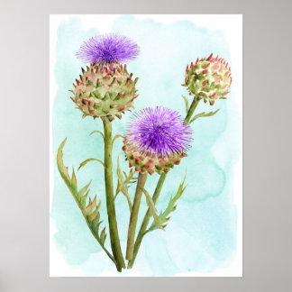 Watercolor Globe Artichoke Flower Head Poster