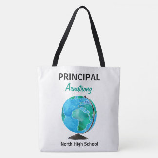Watercolor Globe Personalized School Principal Tote Bag