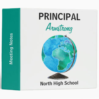 Watercolor Globe Personalized School Principal Vinyl Binder