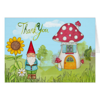 Watercolor Gnome and House Thank You Card