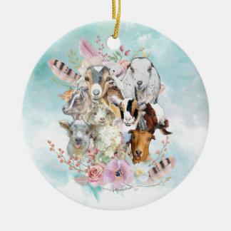 Watercolor GOAT Breeds Collage   GetYerGoat™ Ceramic Ornament