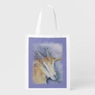 Watercolor Goat/Kid Reusable Grocery Bags