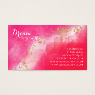 Watercolor Gold Confetti Red Pink Business Card