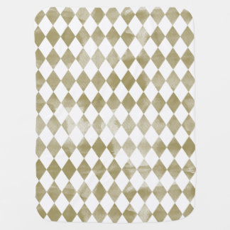 Watercolor Gold Diamonds Baby Blanket