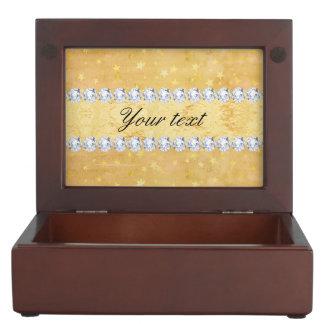 Watercolor Gold Foil Stars Diamonds Keepsake Box