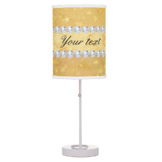 Watercolor Gold Foil Stars Diamonds Table Lamps