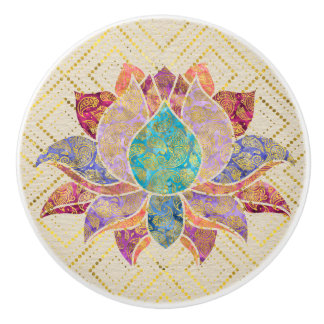 Watercolor & Gold paisley decorated lotus Ceramic Knob