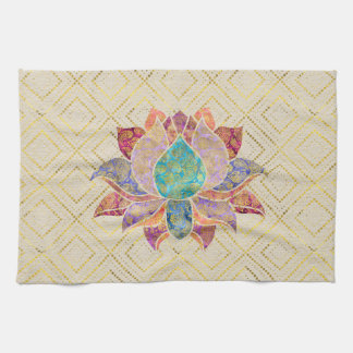 Watercolor & Gold paisley decorated lotus Kitchen Towel