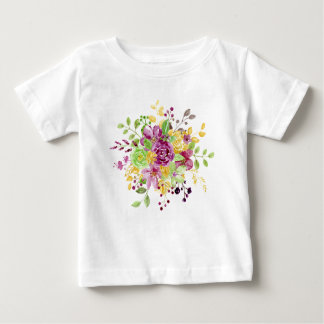 Watercolor gold plummy bouquet baby T-Shirt