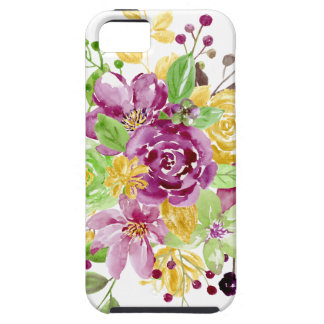 Watercolor gold plummy bouquet case for the iPhone 5