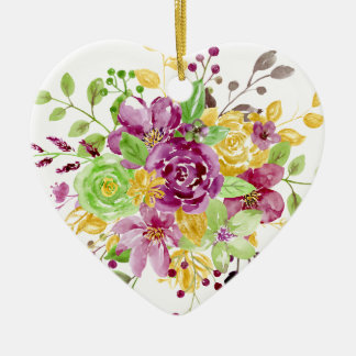 Watercolor gold plummy bouquet ceramic ornament