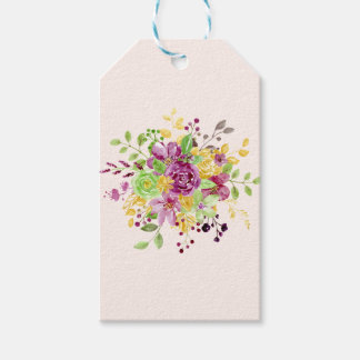 Watercolor gold plummy bouquet gift tags